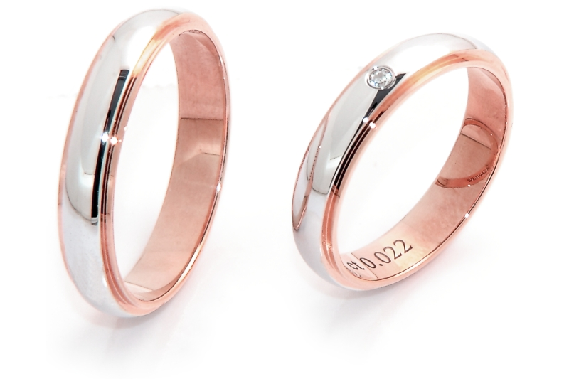 Molto Fedeinfinita - Fede Nuziale In Oro Bicolore Rosa e Bianca Mod  GX66